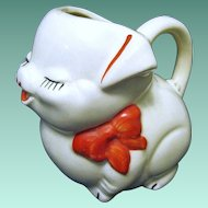 Red, Black and White American Pottery Pig Creamer