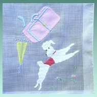 Classy 1950's White Poodle Handkerchief