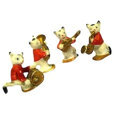 """Miniature Cat Musicians Wearing Red Jackets, marked """"Germany"""""""