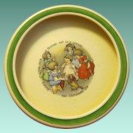 Jack Horner Eats Christmas Pie on Vintage Roseville Baby Bowl