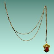 Vintage Brass and Carnelian Pendant on Long Chain