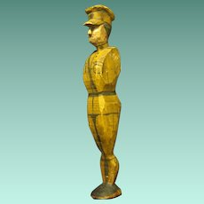 Vintage Hand Carved Folk Art Wooden Soldier from WWI