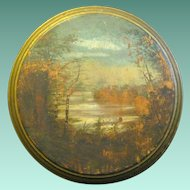 Pre-1900 Primitive Painting on Solid Round Wooden board