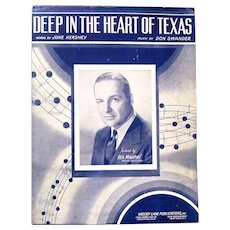 """1941 Sheet Music Hit, """"Deep in the Heart of Texas"""", Swander and Hershey"""