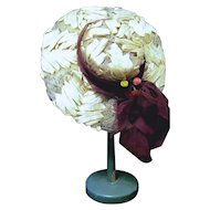 White Straw Wide Brim Doll Hat with Maroon Chiffon Band/Trim
