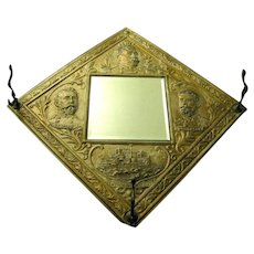 """Tin Hat Rack, Wall Mirror """"Remember the Maine"""", Commemorates Spanish American War Heroes"""