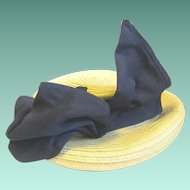 Lady's 1940s Straw Hat with Perky Wired Bow