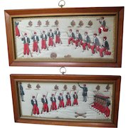 Pair of Framed Stitched Pictures of Civil War Zouaves