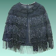 1890 Beaded Victorian Capelet with Black lace