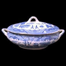 Miniature Vintage Toy China Blue Willow Handled Tureen