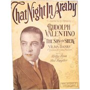"""1926 Sheet Music, """"That Night in Araby"""" Rudolph Valentino Cover"""