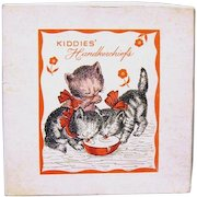 "Pair of children's Hankies, Still Pinned in Original Box Marked ""Kiddies' Handkerchiefs"""