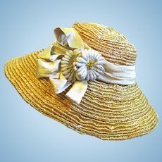 Vintage Straw Doll Hat with Faux Flowers, Ribbon Trim, Wired Brim