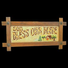 """Framed Punch Paper Embroidery Motto Picture, """"In God We Trust"""""""