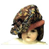Vintage Doll Hat, Floral Embroidered net over Pink Straw