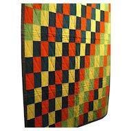 Vintage Woolen Quilt for Summer Cottage in Vibrant Colors