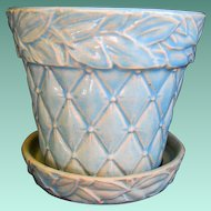 Signed McCoy Turquoise Flower Pot, Quilted Diamond Pattern