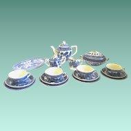 20-Piece Miniature Doll-size Blue Willow China Tea Set, 1930s