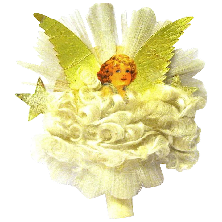 Angel Christmas Tree Topper.National Angel Christmas Tree Topper With Spun Glass Wings