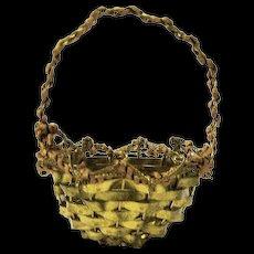 Miniature Vintage Woven Brass  Basket