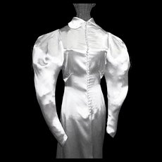 1930's White Satin Bias Cut Wedding Gown with Train
