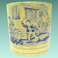 "Mid 19th Century English Glazed Earthenware Child's Mug, ""Playing Whip-Top"""