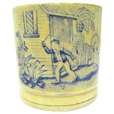 "Child's Mug, ""Playing Whip-top"", Mid 19th Century English"