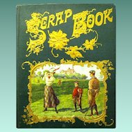 "Antique Victorian Scrapbook, ""Golfing with a Lady"", dated 1876, is Loaded with Trade Cards"
