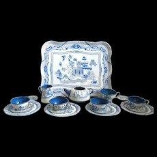 Vintage 1948 Ohio Art Tin Toy Tea Set, Blue Willow Design