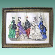 Authentic Hand Colored Godey's Fashion Print, 1869, Framed