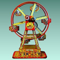 """1934 Chein Lithographed Tin """"Hercules"""" Toy Ferris Wheel"""