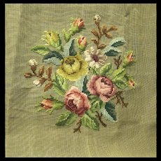 Large Vintage Preworked Floral Needlepoint Tapestry Canvas, Tagged Dritz
