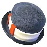 Lady's 1960 Designer Oleg Cassini Navy Blue Straw Hat with Original Price Tag