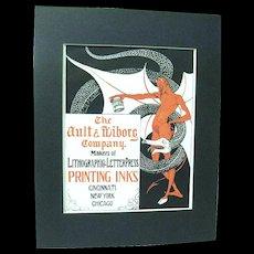 1902 Art Nouveau Devil and Snake Poster Advertises Ault & Wiborg Printing Inks