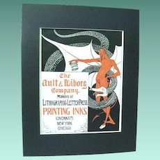 1902 Art Nouveau Devil and Snake Poster Advertises Ault & Wiborg Printing Inks