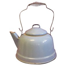 Turn of the Century Robin's Egg Blue Graniteware Tea Kettle and Lid