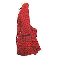 Child's Victorian Period Bustle Dress, Red and Black Check