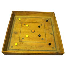 1920's Wooden Game board with Marbles