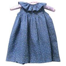 Little Girl's Post Civil War Summer Prairie Dress, Blue and White Cotton Print