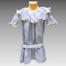 Dropped Waist, Lace Trimmed Child's Blue Cotton 1900's Dress