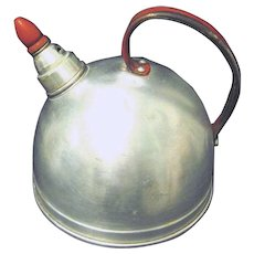 Small Vintage 1940s Aluminum Whistling Tea Kettle with Perky Red Whistler