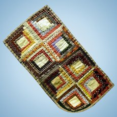 Outstanding Pre 1900 Miniature Log Cabin Doll Quilt, Museum Quality