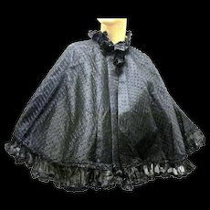 Victorian Black Dotted Sheer Fabric over Taffeta Autumn Cape with Ruffle Trim