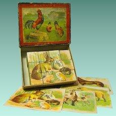 Original Boxed Vintage Picture Puzzle Blocks, Matching Lithographs