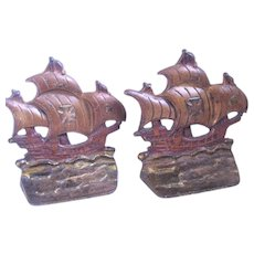 Pair of Vintage Cast Iron Polychromed Sailing Ships Bookends