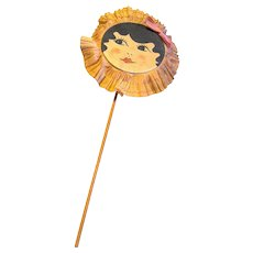 1920's Flapper Face Paper Party Rattle NoiseMaker