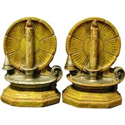 Candles Shine Brightly on Pair of Vintage Syroco Bookends