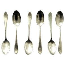 "Six International Sterling Teaspoons, Monogrammed ""B"""