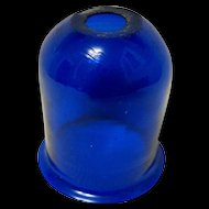 Hand Blown Cobalt Glass Candle Shade, Pre-1900