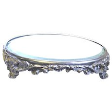 Antique Plateau Mirror, Ornate Footed Silverplate Base